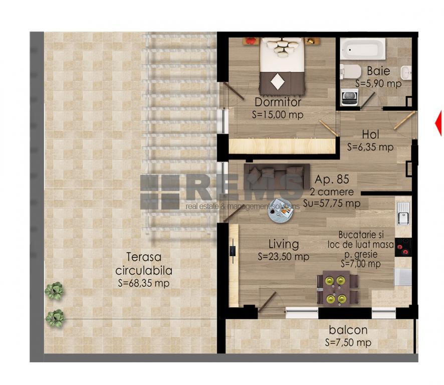 Apartament la etaj intermediar in constructie noua !