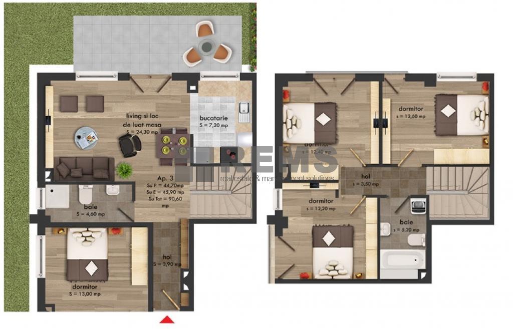 Apartament 4 camere, cu gradina, c-tie finalizata, Buna Ziua